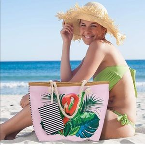 Large flamingo beach bag with pouch